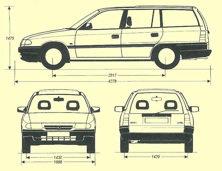 Opel Astra F Caravan 1994 blueprint