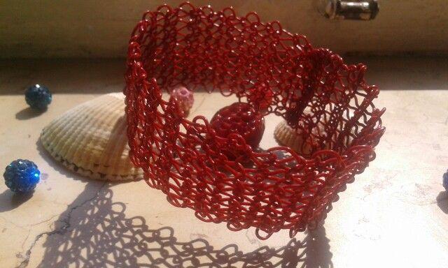 Bracciale crochet wire rosso