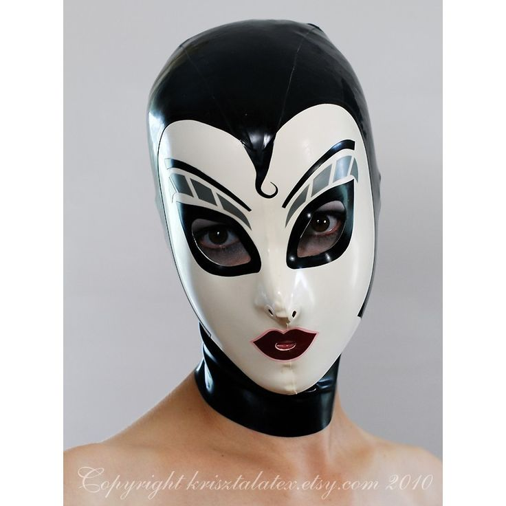 Latex Hood w Silver Make Up in Black and White - completely custom, ma...  krisztalatex  $175.00 USD