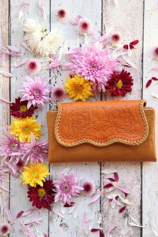 Tan Tooled Wallet – Renee Loves Frances