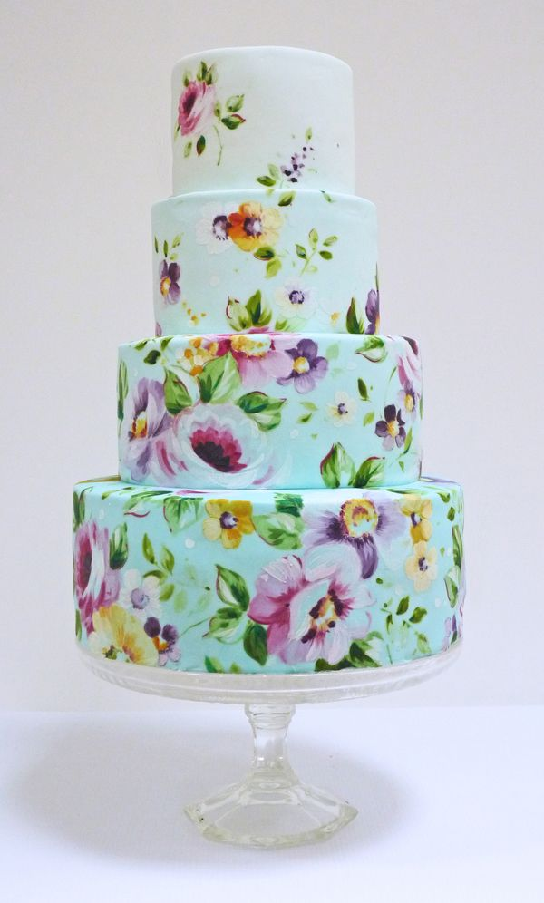 Hand Painted Wedding Cake. Wedding cake trends for 2017. Unique Ideas and inspiration for your perfect Wedding Cake