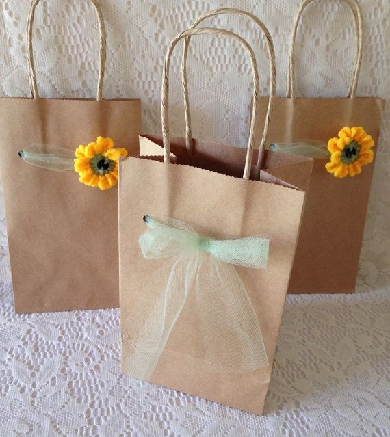 Sunflower Gift Bags 3 Kraft Brown Paper by AllSylviasCreations