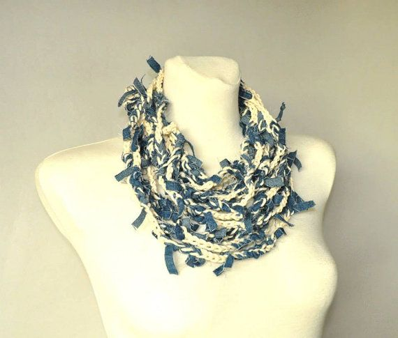 Crochet Necklace Fiber Art Necklace Tattered Denim by aboutCRAFTS