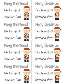 Christmas Holiday Homework Pass