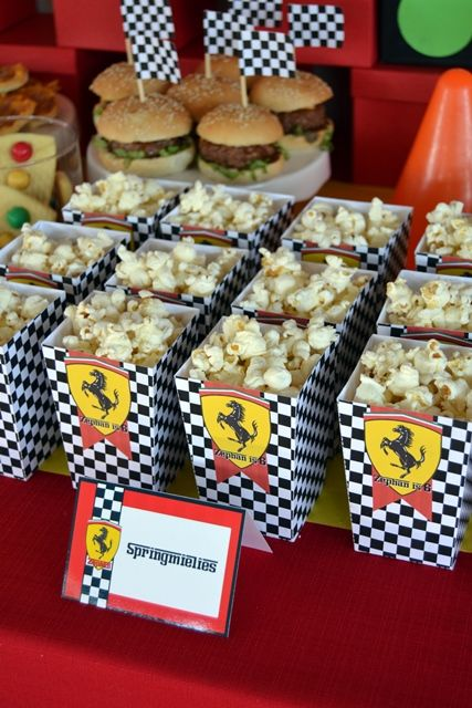 Black & White Check Ferrari Popcorn Boxes