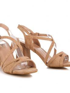 Elegantní hnědé sandály na podpatku