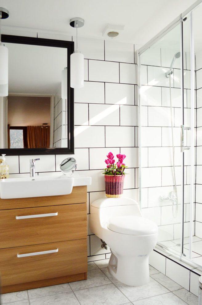 Glass shower at a modern industrial bathroom renovation