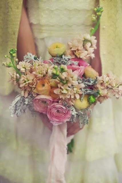 Pretty stock and ranunculus bouquet - pink and yellow bouquet