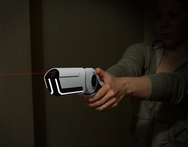 This design aims to provide a non-lethal solution for defending your home when the security system and locks have failed. The weapon pulses an invisible laser that super-heats the surrounding air. The resulting plasma explosion delivers a swift kick to the intruder while electro magnetic waves induce temporary paralysis. Additionally, when the unit is turned on, an integrated camera and microphone feed to on off-site security center that will notify the police of an incident.  Designer…