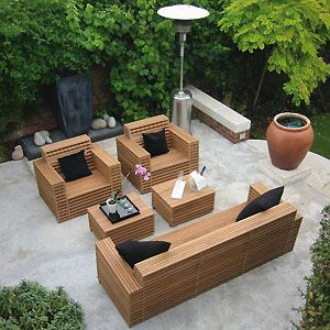 Patio furniture out of wood pallets other wood outdoor for Mobilier exterieur teck