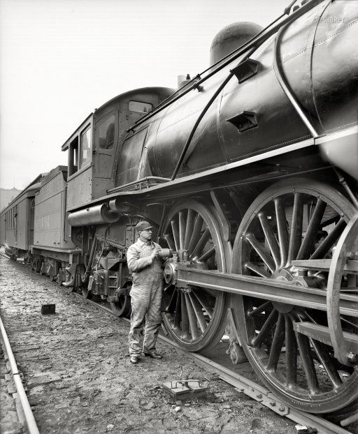 1904 - Michigan Central Railroad engineer oiling up before the start