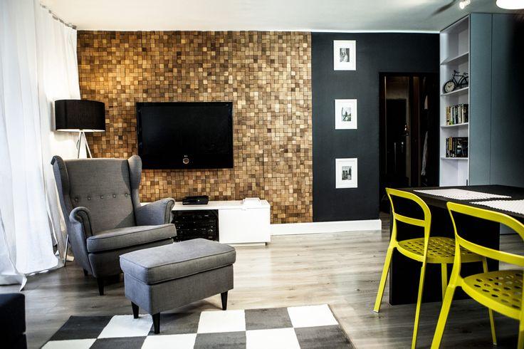 foorni.pl | DREWNIANY PANEL ŚCIENNY CUBE 1, drewno w salonie,  producent: Stegu