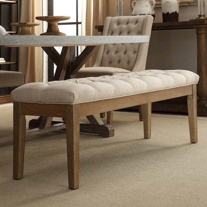 New Eleni Modern Beige Linen Button Tufted Bench with Dark Walnut Finish Brown