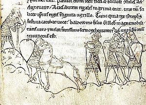 At least two of my great grandfathers served against each other during the 1st Battle of Lincoln in 1141.  My 24th Great Grandfather, Robert de Russell victoriously fought against King Stephen of England under Ranulf, Earl of Chester.  My 27th Great Grandfather, William Peverel The Younger, was the principal supporter of King Stephen of England and they were captured together at the Battle of Lincoln.