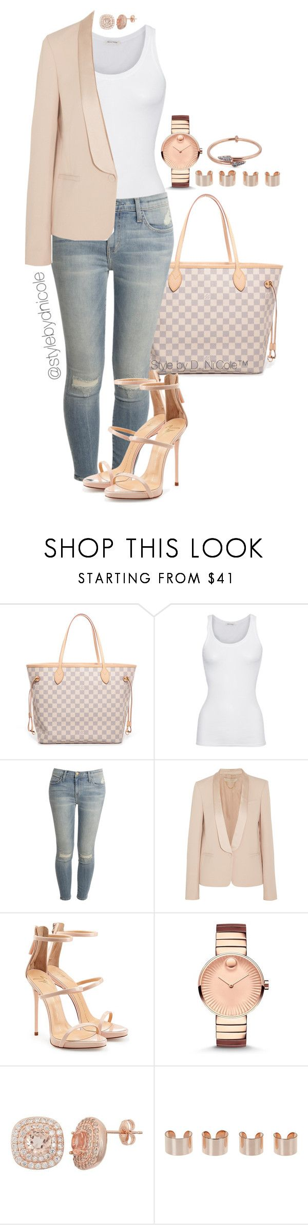 """Untitled #3193"" by stylebydnicole ❤ liked on Polyvore featuring Louis Vuitton, American Vintage, Current/Elliott, Vanessa Bruno, Giuseppe Zanotti, Movado, Maison Margiela and Katie Rowland"