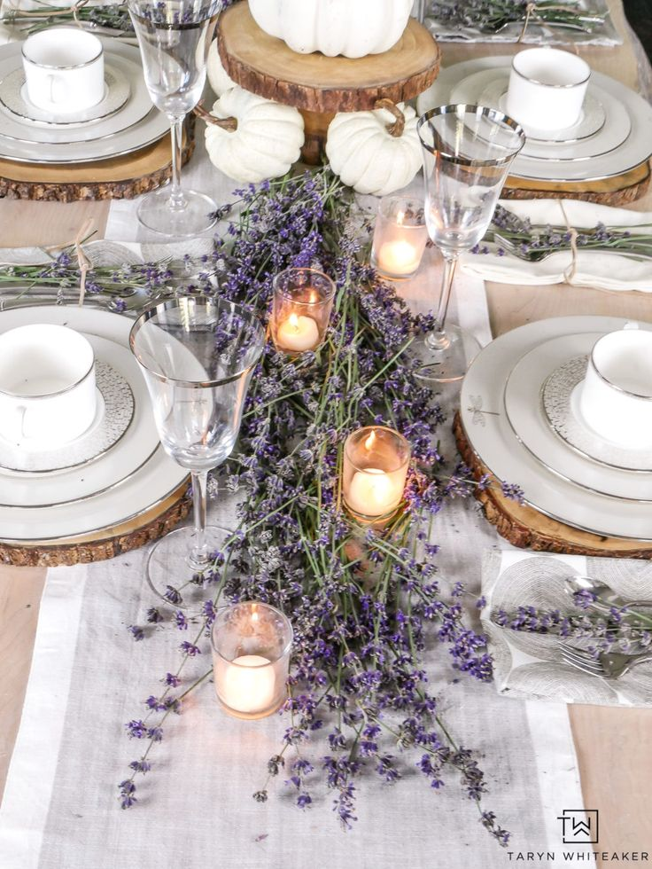 Fresh Lavender Fall Tablescape