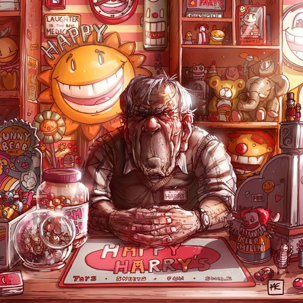 Illustration 2012 by Michal Dziekan, via Behance ~Mister Happy