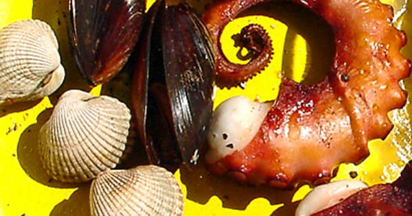 De flesta musslor passar utmärkt att grilla. Här har vi grillat både musslor och bläckfisk. Köp bläckfiskar som är 10-12 cm långa. Ibland hittar man riktigt små, men de finns oftast djupfrysta.