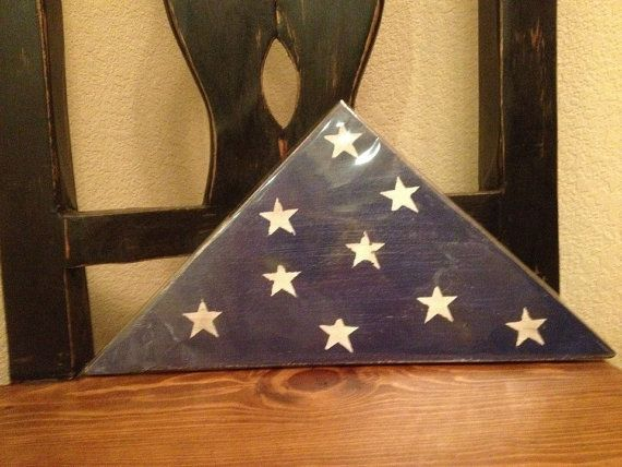Wooden Folded American Flag Americana by Kreationsbykellyr on Etsy