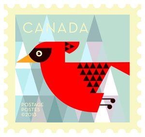 'Cardinal' Dale Nigel Goble stamp design for Canada Post.  Via Canadian Design Resource.