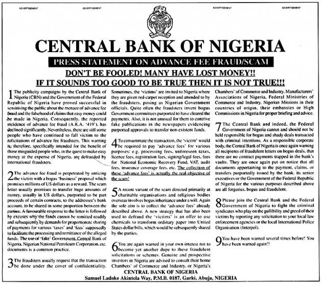 nigerian dating scam letters