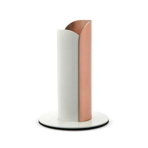 copper and white bud vase