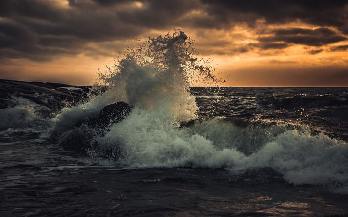 Download wallpapers storm, big wave, sunset, seascape, sea