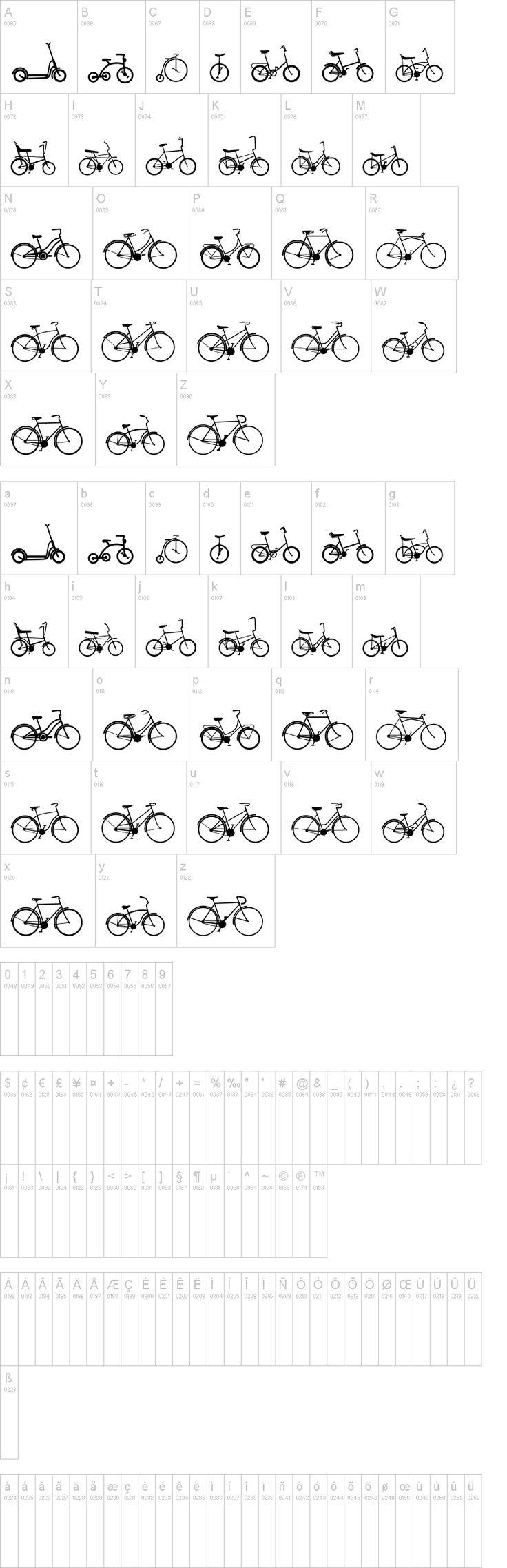 Sepeda Dingbats Font   dafont.com    bikes galore!