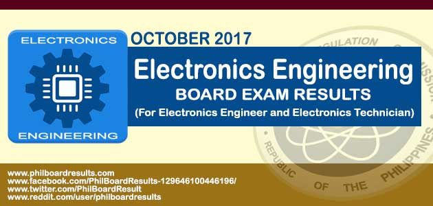Shown Below is the complete list of top ten (10) passers in the October 2017 Electronics Engineer Board Exam Result, officially released by PRC online.