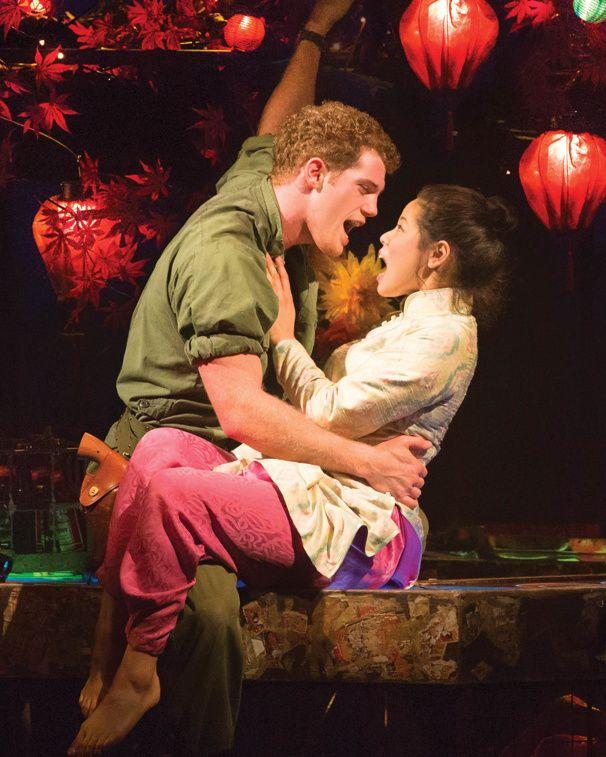 Alistair Brammer as Chris and Eva Noblezada as Kim in Miss Saigon.