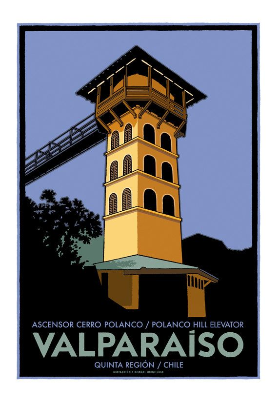 Valparaiso  Polanco Hill  Elevator Poster made by Jorge Lillo Valenzuela, chilean illustrator and designer.