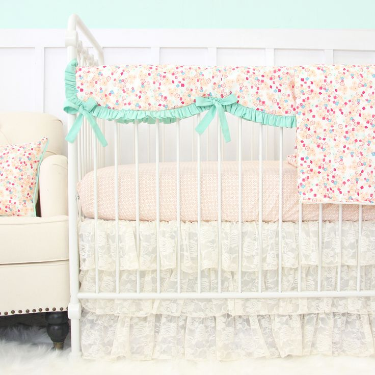 vintage lace and mini floral crib bedding