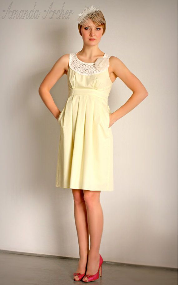 Pale yellow dress with sleeves