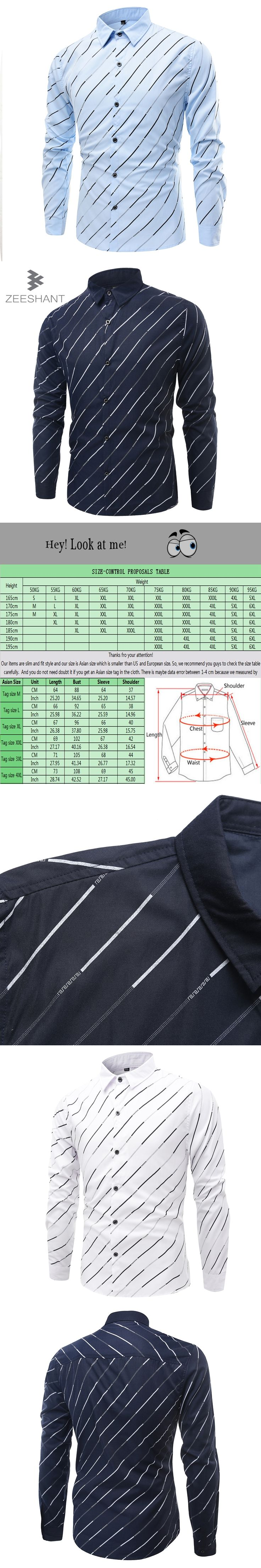 ZEESHANT Tuxedo Shirt XXXXL Striped Dress Shirts Regular Fit Business Casual Button-down Shirt Work Wear in Men's Tuxedo Shirts
