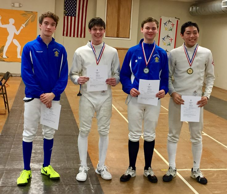 "Congratulations to DFC fencers Austin J on earning the silver medal (earning his ""D"" rating); Joseph S on earning the bronze medal; Drew W on finishing 5th; Nick B on finishing 6th (earning his ""E"" rating) in the cadet mens épée event in the GA Division Junior Olympic Qualifiers. Austin, Joseph and Drew qualified for JOs in cadet. Very well fenced"