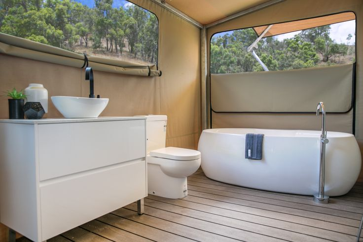Eco Tent Glamping Retreat, at Sierra Escape. Australia Tourism - The new camping. Bathroom inspiration