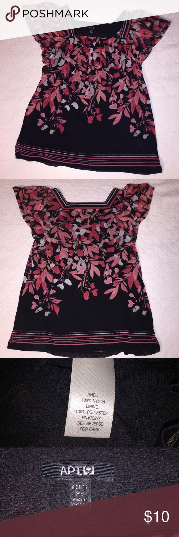 Apt 9 Small Petite womens dress shirt new no tags Apt 9 Small Petite womens dress shirt new without tags. I never had a chance to wear this. Black with pink floral design. Loose fit. Layers of flowey sheer material. Excellent like new condition. Never worn. Apt. 9 Tops Blouses
