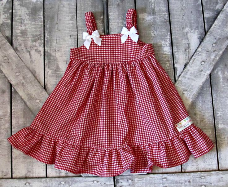 Chicas guinga roja Vestido de bebé niña vestido  niño vestido