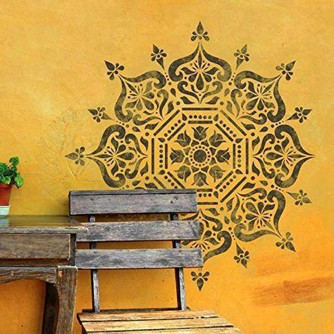 "Wandtattoo Ornament Indian Mandala, Marokkanisches Muster, Geometrische Om ""Namaste Yoga"" Lotus Blume, Vinyl, Schlafzimmer Wandtattoo, Wandsticker Wandbilder"