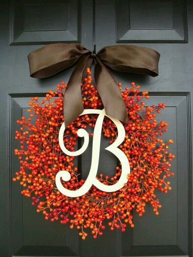 Fall Decor - Monogram Berry Wreath. With a...
