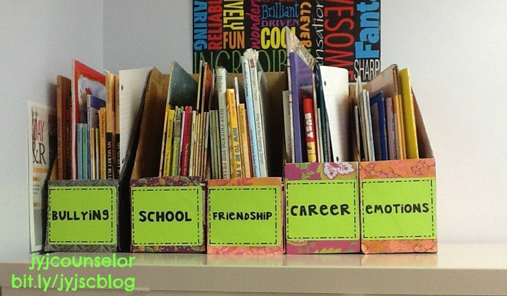 Need to do this with my picture books... Grouped by Artist, Style, Elements of Art, etc! Why did I never think of using magazine boxes??