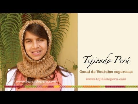 ▶ Cómo tejer una capucha con cuello paso a paso en dos agujas o palitos - YouTube