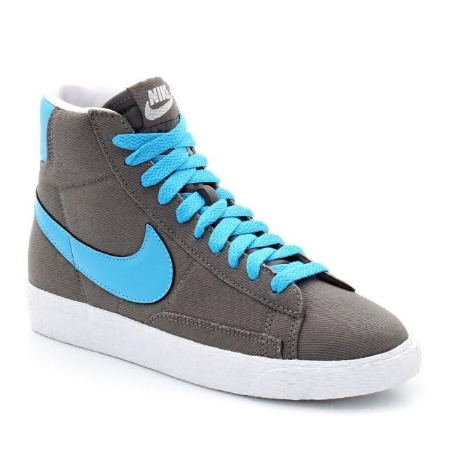 Nike Blazer Mid premium Vintage suede Chaussure pour Femme Gris Bleu  Blanc<.MODERN STYLE