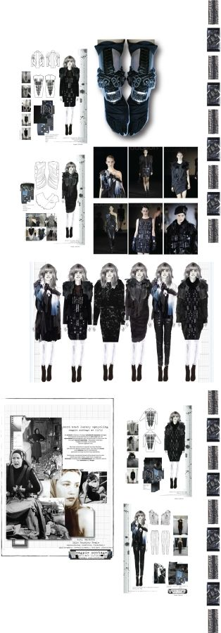 Fashion Sketchbook - fashion design  development; developing a collection; fashion portfolio // Magpie Montage, Emma Dobson