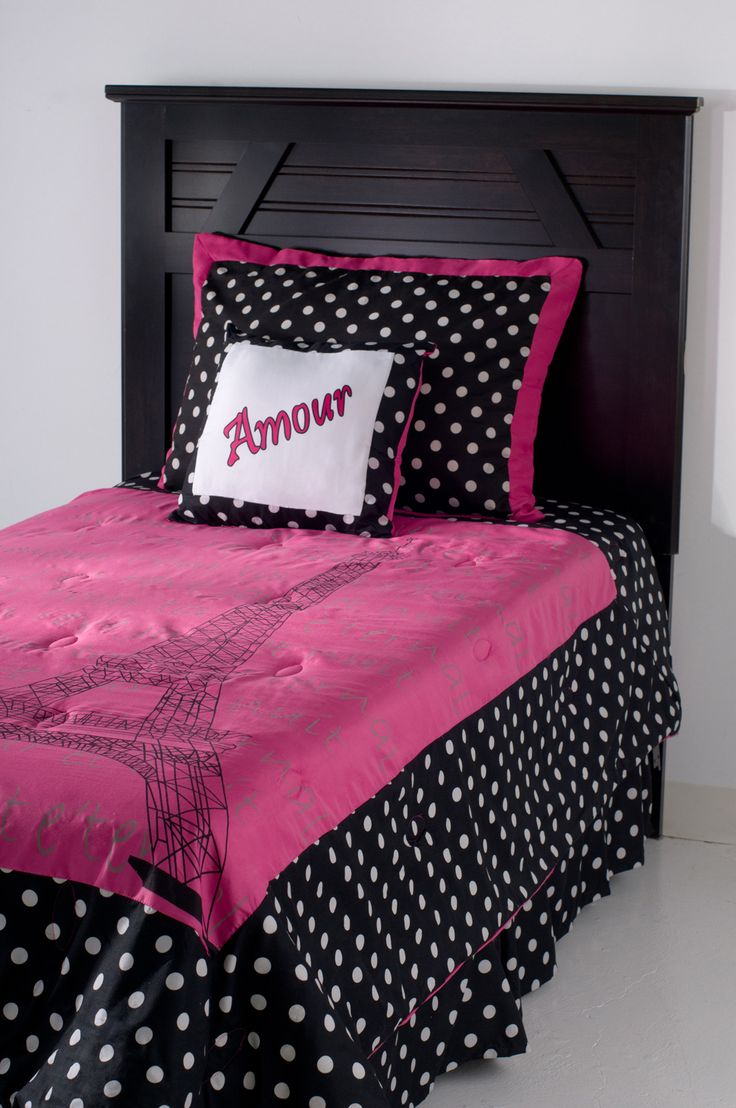 Pink and white polka dot bedding - Hot Pink Black Teen Girl Bedding White Polka Dot French Eiffel Tower Full Queen