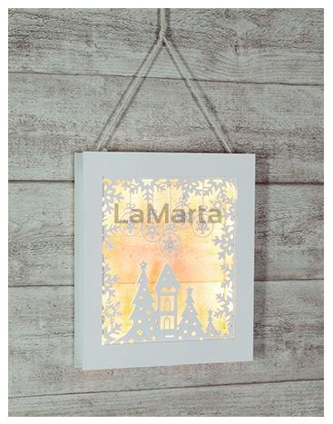 Ozdoba świąteczna obraz   Kolor biały23 x 26.5 x 3cm Bateria 3 x AA,8 x niewymienne LED