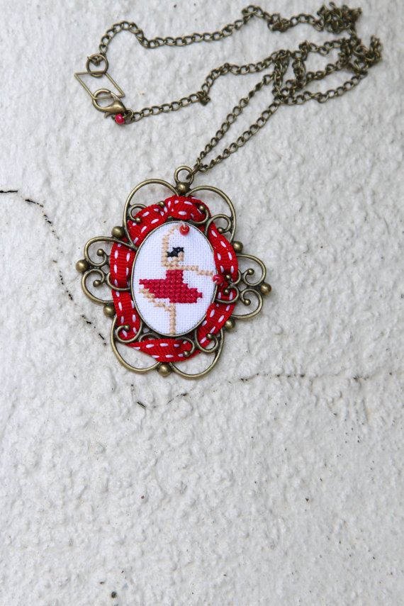 Dancer hand embroidered necklace  Red  Lady in red  by byKALYNKA