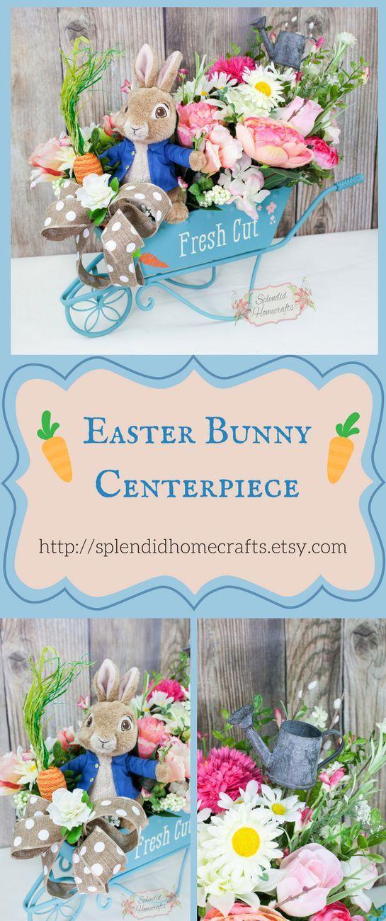 Easter Floral Arrangement, Spring Floral Centerpiece, Centerpieces for Table, Wheelbarrow Decor, Spring Floral Decor, Spring Table Decor by Splendid Homecrafts on Etsy #easterbunny #centerpieces