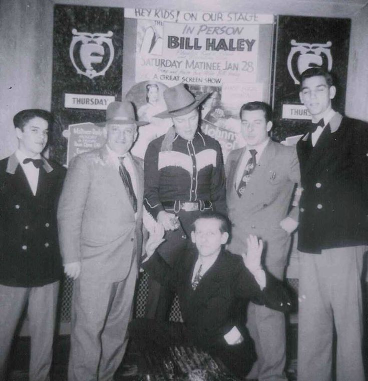 January 28, 1950 - Bill Haley (middle) with fans and his manager Jack Howard (kneeling)