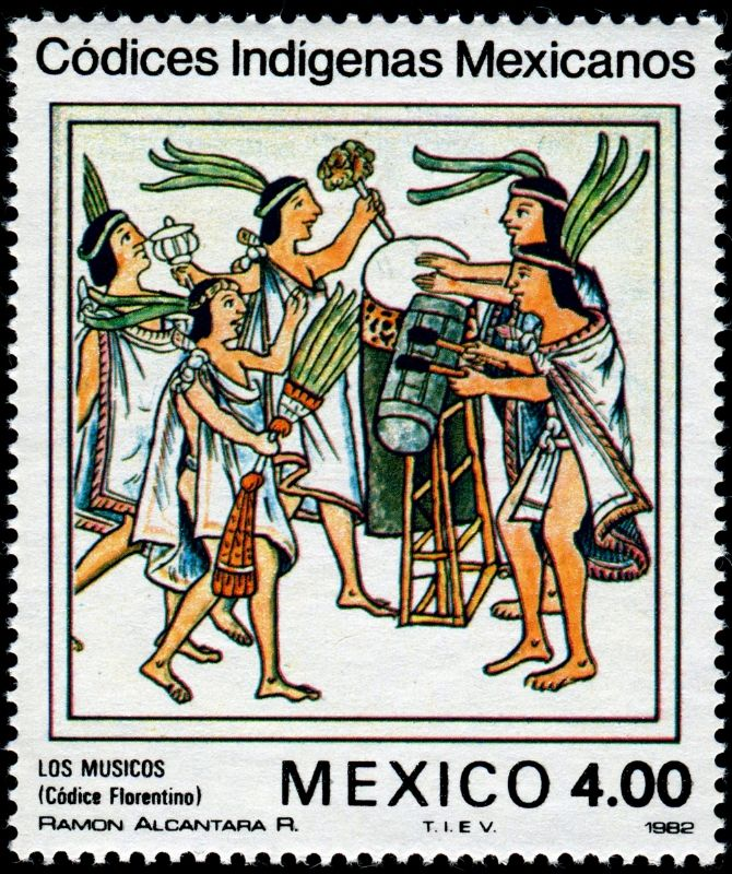 """""""LOS MÚSICOS""""   Código Florentino.   Issued by Mexico on October 2, 1982, Scott No. 1292"""